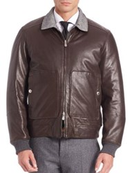 Brunello Cucinelli Leather Cashmere And Wool Blend Reversible Jacket Espresso