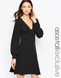 Asos Tall 70'S Plunge Mini Dress With Long Sleeves Black