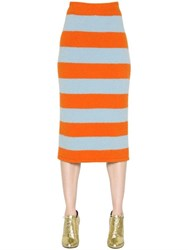 Max Mara Striped Wool And Angora Skirt
