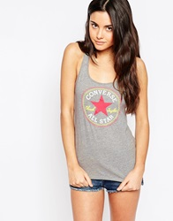 Converse Racer Back Vest Top With Logo Charcoalred