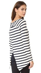 Bb Dakota Carmenita Striped Cross Back Tee Oatmeal
