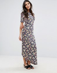Warehouse Ditsy Print Ruched Maxi Dress Multi