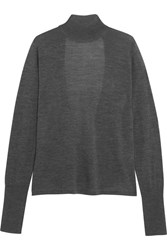 Dion Lee Open Back Merino Wool Turtleneck Sweater Dark Gray