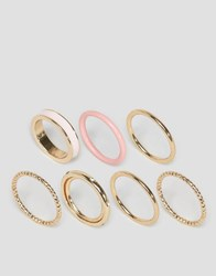 Asos Limited Edition Pack Of 7 Enamel And Stone Stacked Rings Pink Gold