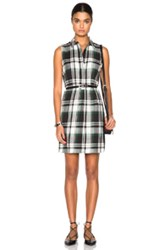 Jenni Kayne Placket Dress In Green Checkered And Plaid Black
