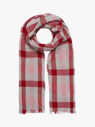 Brora Cashmere Plaid Block Stole Scarf Ruby Rose