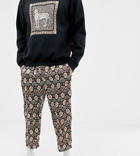 Reclaimed Vintage Inspired Snake Skin Print Cropped Relaxed Trouser Brown