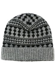 Saint Laurent Pattern Intarsia Beanie Black