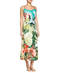Natori Birds Of Paradise Long Satin Gown Freshwater
