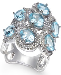 Macy's Aquamarine 5 9 10 Ct. T.W. And Diamond 5 8 Ct. T.W. Ring In 14K White Gold