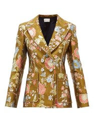Peter Pilotto Double Breasted Floral Brocade Blazer Green Multi
