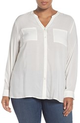 Sejour Plus Size Women's Two Pocket Top Ivory Cloud