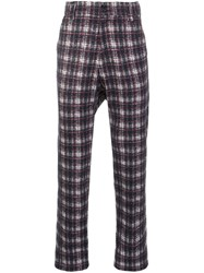 Aganovich Drop Crotch Tartan Trousers Grey