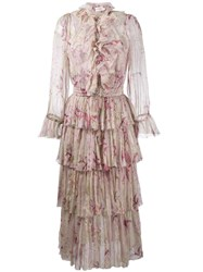 Zimmermann Winsome Floral Print Tier Dress Nude And Neutrals