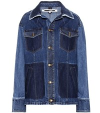 Mcq By Alexander Mcqueen Patched Oversized Denim Jacket Blue