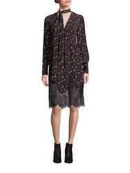 Mcq By Alexander Mcqueen Pintuck Silk Peasant Dress Vintage Floral