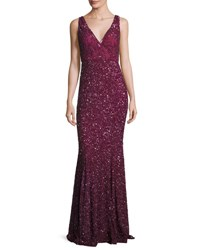 Rachel Gilbert Ombre Sequined V Neck Gown Burgundy
