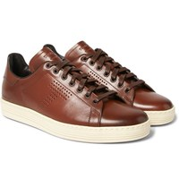 Tom Ford Warwick Perforated Burnished Leather Sneakers Brown