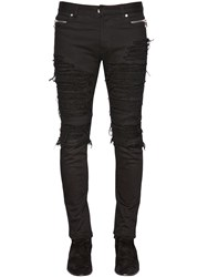 Balmain 15Cm Zip Destroy Denim And Jersey Jeans