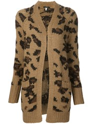 R 13 R13 Long Leopard Pattern Cardigan Brown