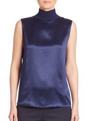 Lafayette 148 New York Silk Charmeuse Bonita Turtleneck Blouse Galaxy Blue
