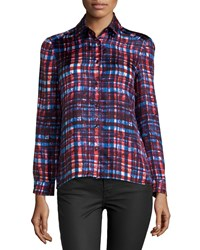 Risto Long Sleeve Plaid Slim Fit Shirt Red Forest Twill