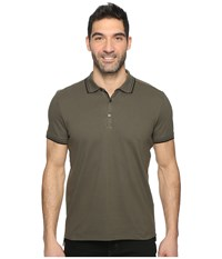 Kenneth Cole Polo With Tipping Army Green Men's Short Sleeve Pullover