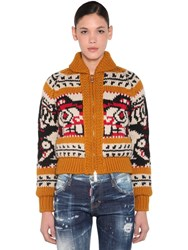 Dsquared Zipped Wool Knit And Mohair Sweater Multicolor