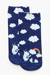 Boohoo Lauren Unicorn Rainbow Ankle Socks Blue