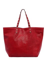 Red Valentino Lizard Embossed Leather Tote Bag Red