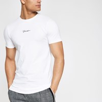 River Island White 'Prolific' Muscle Fit T Shirt