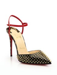 Christian Louboutin Studded Colorblock Patent Leather Ankle Strap Pumps
