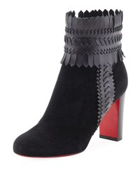 Christian Louboutin Pocabootic Whipstitched Red Sole Boot Black