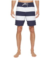Lacoste Bold Stripe Long Length Navy Blue White Men's Swimwear
