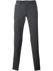 Eleventy Checked Straight Trousers Grey
