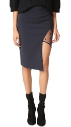 Michelle Mason Mesh Panel Asymmetrical Skirt Midnight