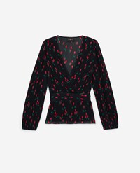 The Kooples Navy Blue Wrap Top With Cherry Motif