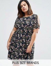 Koko Plus Skater Dress With Cold Shoulder In Floral Print Navy Floral