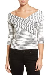 Chelsea 28 Women's Chelsea28 Crossover Stripe Top White Black Stripe