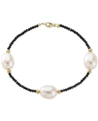 Macy's Cultured Freshwater Pearl 10Mm And Black Spinel Bracelet In 14K Gold