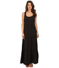 Dylan By True Grit Soft Gauzy Cotton Tiered Tank Maxi Dress Vintage Black Women's Dress