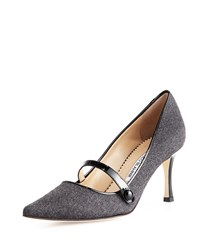 Mladar Flannel Mid Heel Mary Jane Pump Gray Black Manolo Blahnik Grey Bla