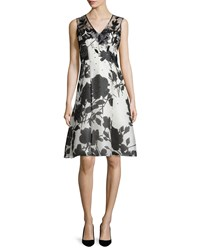 Carolina Herrera Embellished Floral Print Dress White Black