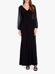Adrianna Papell Long Sleeve Draped Gown Black