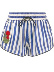 Off White Rose Embroidered Striped Shorts Blue