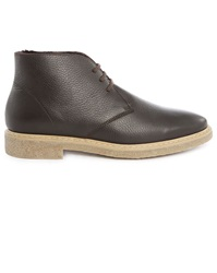 M.Studio Chewy Brown Grained Leather Desert Boots With Sheepskin Lining