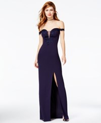 Teeze Me Juniors' Lace Detail Off The Shoulder Gown Navy