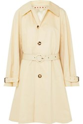 Marni Belted Cotton And Linen Blend Canvas Coat White
