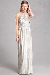 Forever 21 Metallic Maxi Halter Dress Taupe
