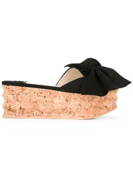 Paloma Barcelo Bow Detail Sandals Black